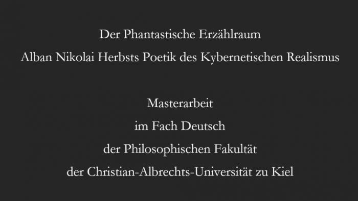 Alban Nikolai Herbst und die Poetik des Kybernetischen Realismus