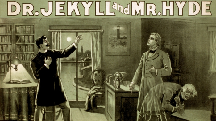 "Ein Poster aus den 1880ern zu Stevensons ""The Strange Case of Dr. Jekyll and Mr. Hyde"""